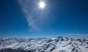 Sun seen over Italian Alps