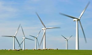 Wind power and noisy wind turbines: A windfarm is seen on Anglesey, north Wales