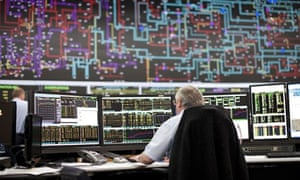 control room at the UK National Grid control centre