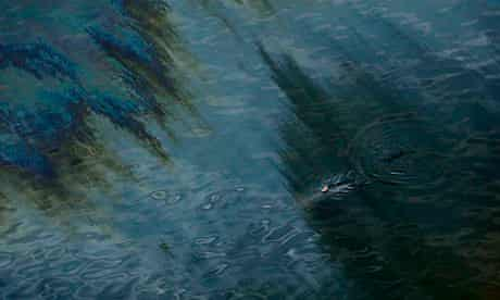 A dolphin is seen swimming through an oil sheen from the Deepwater Horizon oil spill