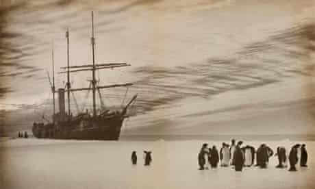 AAE, Australasian Antarctic Expedition SY Aurora anchored to floe ice off Queen Mary Land