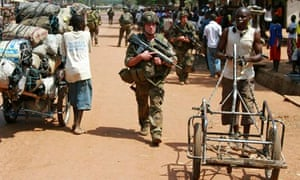 MDG : CAR, Central African Republic : French soldiers patrol on foot in Bangui