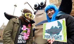 Fish Fight protest outside the Houses of Parliament with Hugh Fearnley-Whittingstall