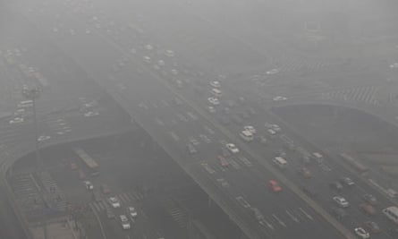 Heavy haze day in Beijing's central business district due to air pollution in China
