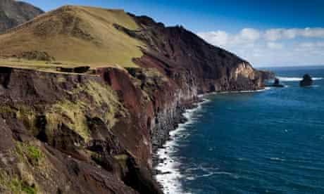 The rugged northwest coast of the remote island of Tristan da Cunha