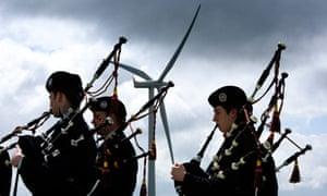 Scotlands First Minister Alex Salmond open wind farm Whitelee wind farm on Eaglesham Moor