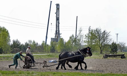 Fracking in Poland : drilling rig exploring for shale gas in village of Grzebowilk