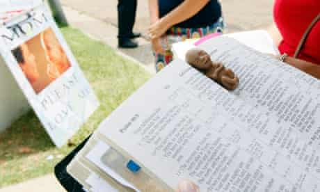 MDG : Anti-abortion activists with a bible  Jackson, Mississippi