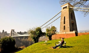 UK spring weather : mid-morning sun by Clifton Suspension Bridge, Bristol