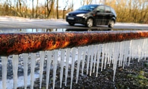 UK Spring Weather : Icicles on the side of a road in South Derbyshire