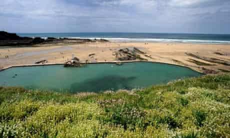 Seawater swimming pool on Bude beach, Cornwall