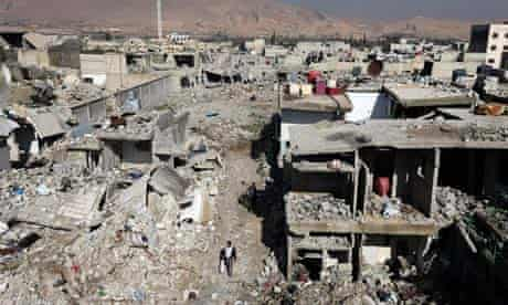 Buildings destroyed by Syrian airforce strikes in damascus