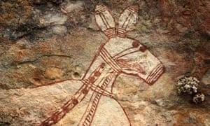Australia aboriginal art threatened by mining industry : kangaroo painted