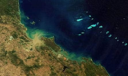 Satellite view of Great Barrier Reef, Queensland, Australia, endangerd  by mining shale oil
