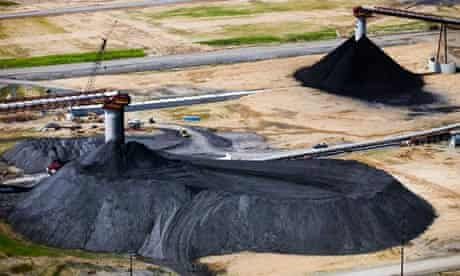 Coal piles sit on the surface of Foresight Energy LLC's Pond Creek longwall coal mine
