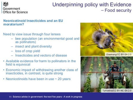 A slide on bees and insecticides, used by Government Chief Scientific Adviser Mark Walport