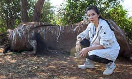 Li Bingbing in Kenya to raise awareness for the plight of elephants and rhinos across Africa