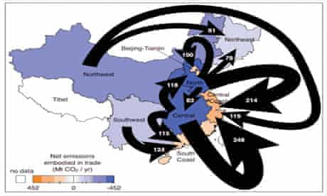 CO2 pollution in China : graphic shows coastal provinces outsourcing their greenhouse gas emissions