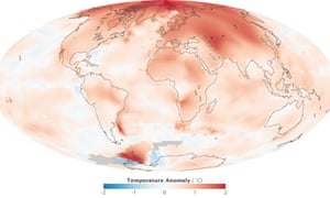 global temperature anomalies for 2000 to 2009