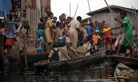 MDG : Population in Nigeria : Overcrowded school children in slum of Makoko, Lagos