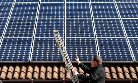Solar power :  56 photovoltaic (solar) panels at the roof of his house