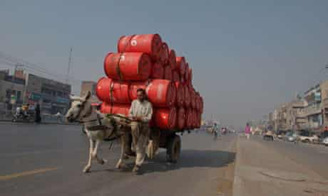 MDG oil containers in Lahore, Pakistan