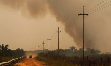 Pollution due to Indonesia :  Haze at Bangko Pusako district Riau province