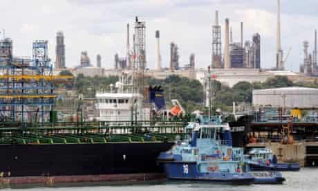 Fossil fuels import : Oil tanker at Marine Terminal, Fawley Refinery in Southampton