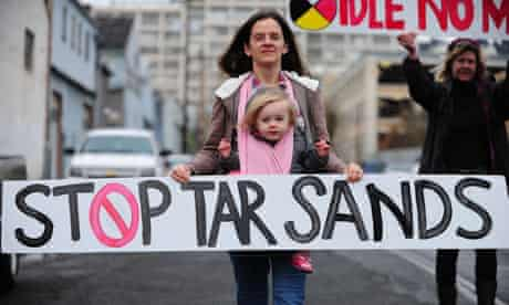 Environmental activists opposed to the Keystone XL tar sands pipeline project