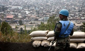 MDG : Goma, DRC :  An Indian UN peacekeeper stands on Mount Goma