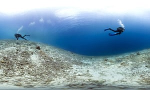 Catlin Seaview Survey's divers survey a coral wasteland near the Caribbean island of Bonaire