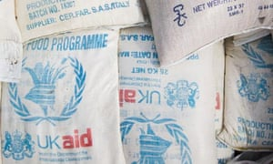 MDG : UKAid for DRC : UK aid Sacks of food from the World Food Programme for IDPs in DR Congo