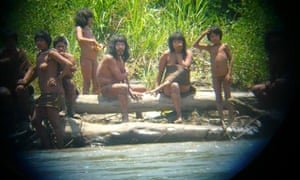Uncontacted indigenous tribes in Amazon forest of Peu : Members of the Mashco-Piro tribe