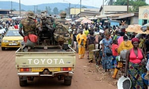 MDG : CAR : Members of the Multinational Force of Central Africa (FOMAC) in Bangui