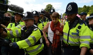 Green Party MP Caroline Lucas arrested during anti-fracking rally in Balcombe