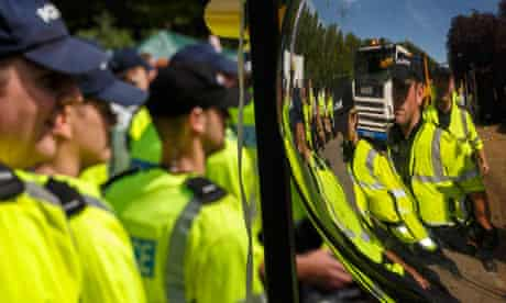 Police  at  Anti-fracking protests Reclaim the Power Action camp near Balcombe