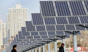 Renewable energy in China : solar power panels installed for public electricity supply in Shenyang