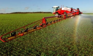 Monbiot on Neonicotinoids : Farmer spraying insecticide in agricultural field of  Bedfordshire