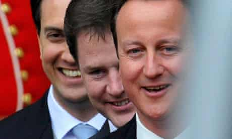 Britain's political leaders Nick Clegg, David Cameron and Ed Miliband