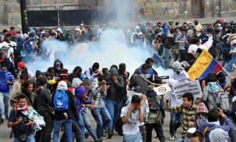 MDG : Farmers Strike in Colombia : Demonstrators protest in Bogota