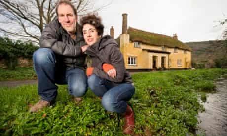 National Trust Holnicote Estate floods defences : Estate tennants Helen Webber and John Hesp