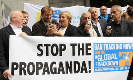 Campaign against shale gas and fracking at European Union in Brussels, Belgium