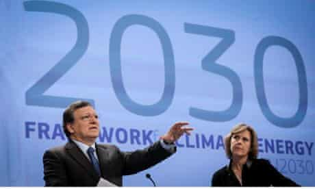 Jose Manuel Barroso and Connie Hedegaard at EU 2030 Framework for Climate and Energy, Brussels