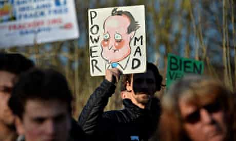 Anti-Fracking protest near Cuadrilla Resources test drill site in Balcombe :   David Cameron