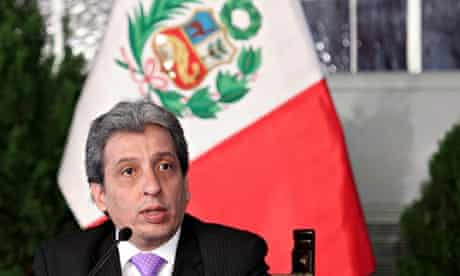 Peru environment minister Manuel Pulgar-Vidal during government press conference in Lima