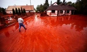 Toxic red mud flood of an alumina factory near Ajka, Hungary