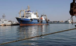 "Russian trawler ""Oleg Na  denov"" moored in Dakar, Senegal, after been boarded for illegally fishing"