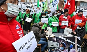 MDG : Trade union members demonstrate in front of the Cambodian embassy in Brussels, Belgium
