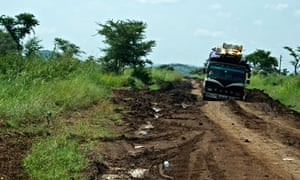 MDG : Truck tavelling on a muddy road in Karamoja, Uganda