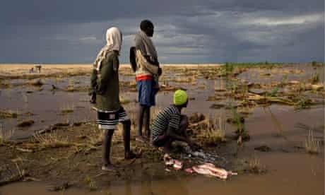 MDG : A fisherman cleans fish in Lake Turkana, near the Kenya-Ethiopia border